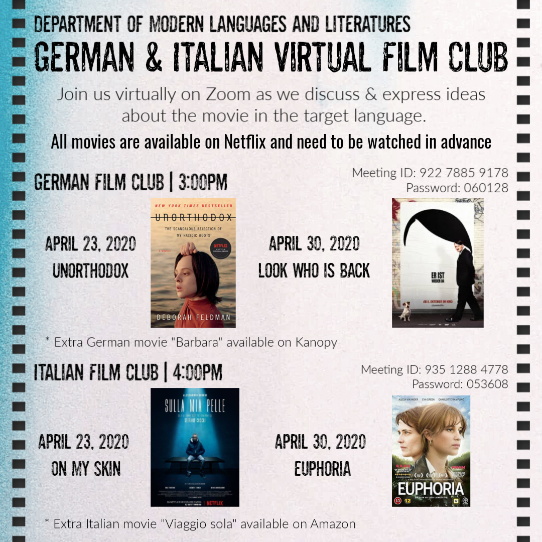 German and Italian Virtual Film Club